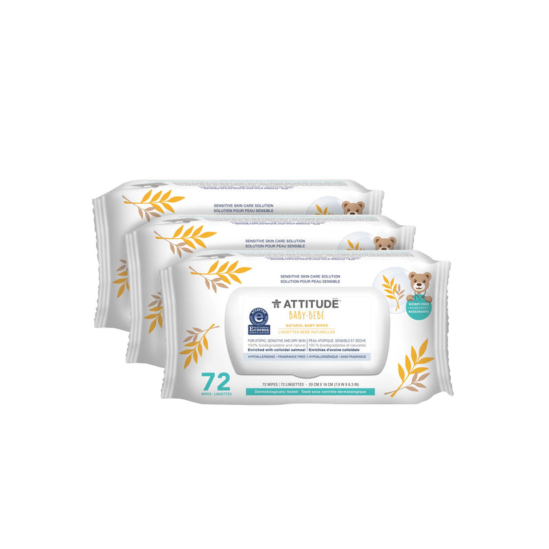 3 packs of ATTITUDE Baby Eczema Solution Baby Wipes Enriched with oatmeal _en?_main?