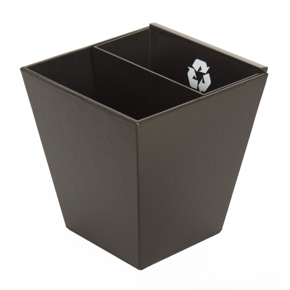 Divided Recycle Bin with MDF inner bin - Black Leatherette