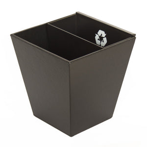 Divided Recycle Bin with MDF inner bin - Black Leatherette - BW