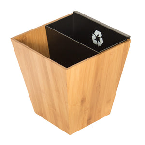 Divided Recycle Bin with MDF inner bin - Bamboo