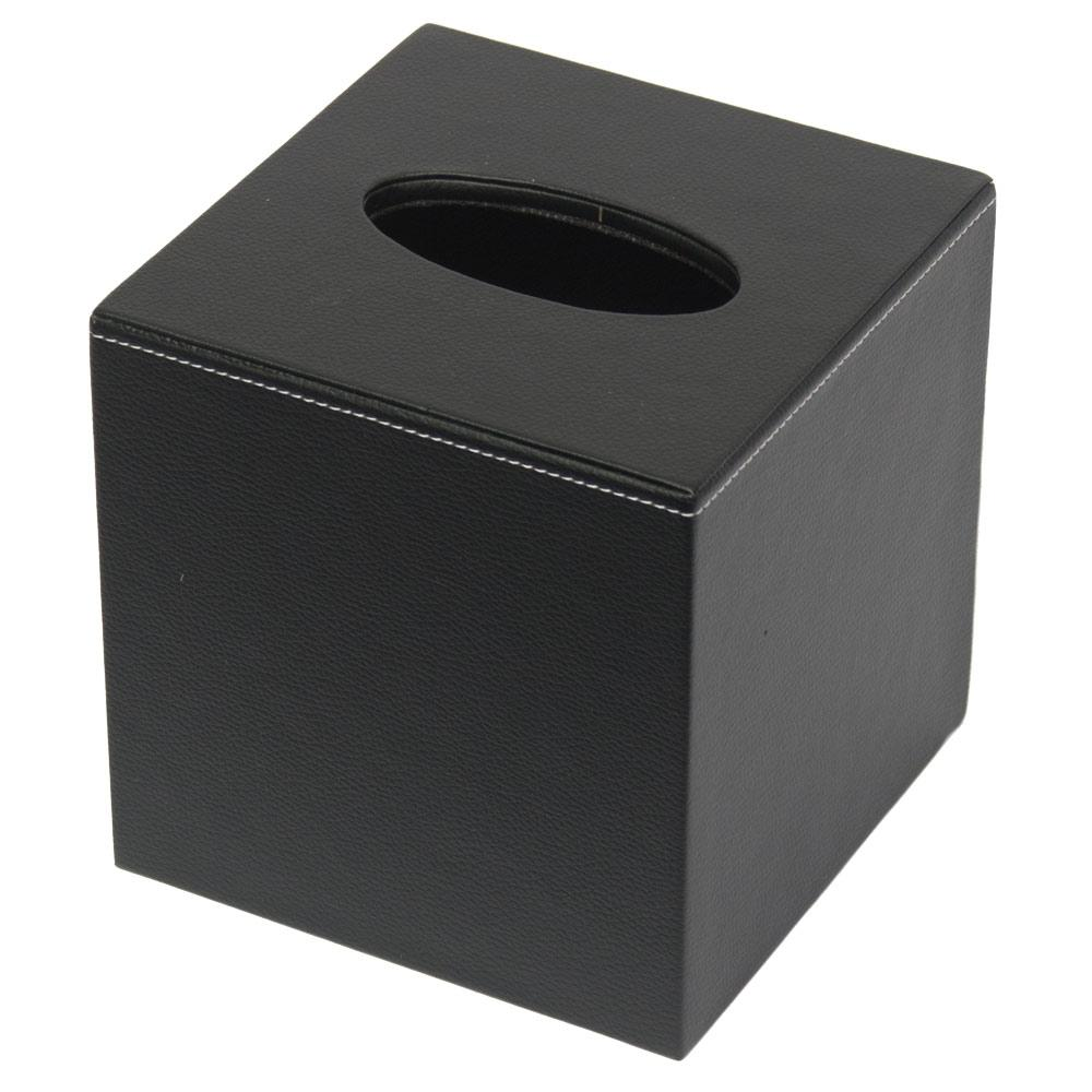 Boutique Tissue cover - Black Leatherette