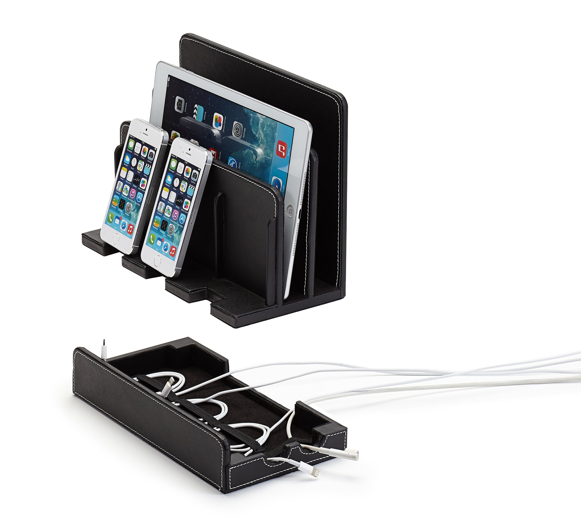 Multi-Device Charging Station Black Leatherette - Customized