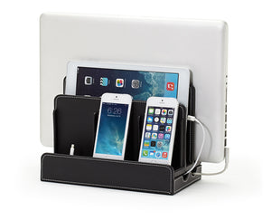 Multi-Device Charging Station Black Leatherette