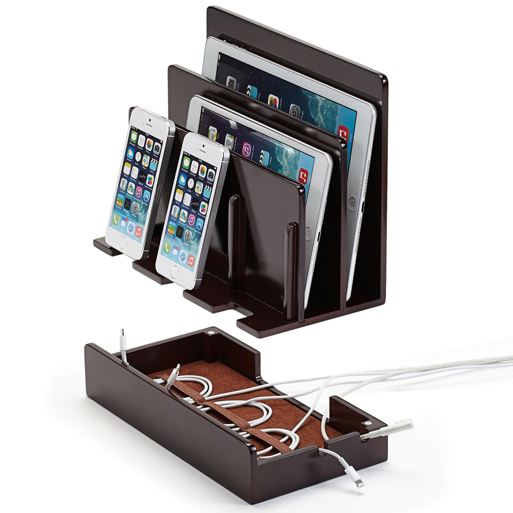 Multi-Device Charging Station Polished Chestnut
