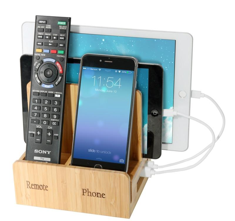 Remote phone compact + USB Powerstrip - Bamboo