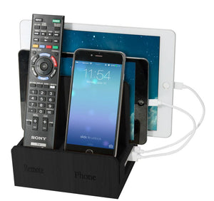 Remote phone compact + USB Powerstrip - Black Leatherette