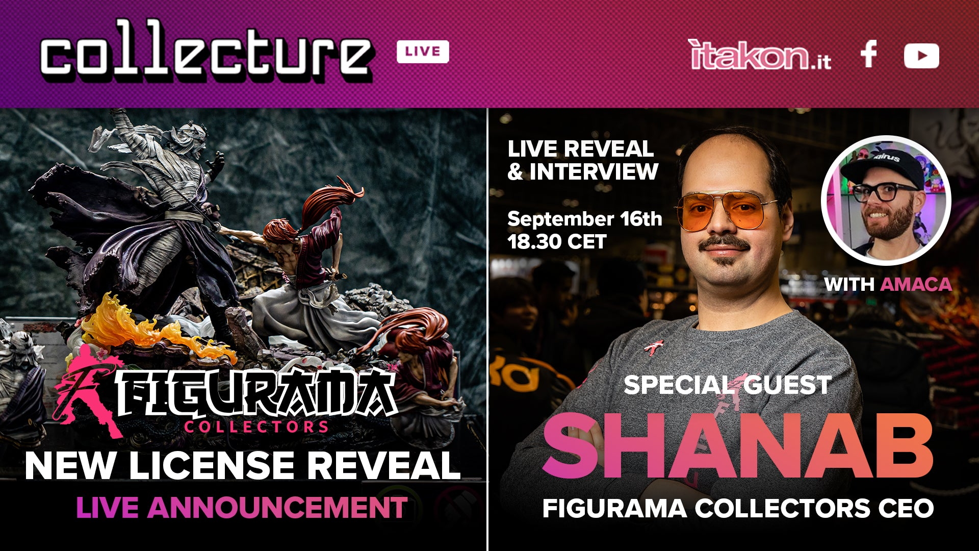 FIGURAMA CEO MR. SHANAB & NEW LICENSE REVEAL to be featured on ITAKON COLLECTURE LIVE