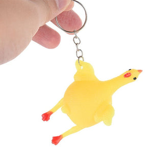 Antistress Squishy Egg Laying Chicken Keychain