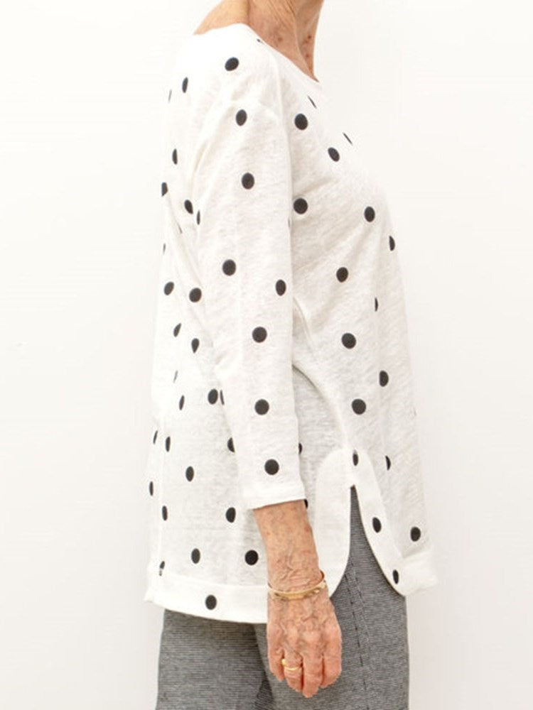 Three-Quarter Sleeve Polka Dots Round Neck Casual Loose T-Shirt
