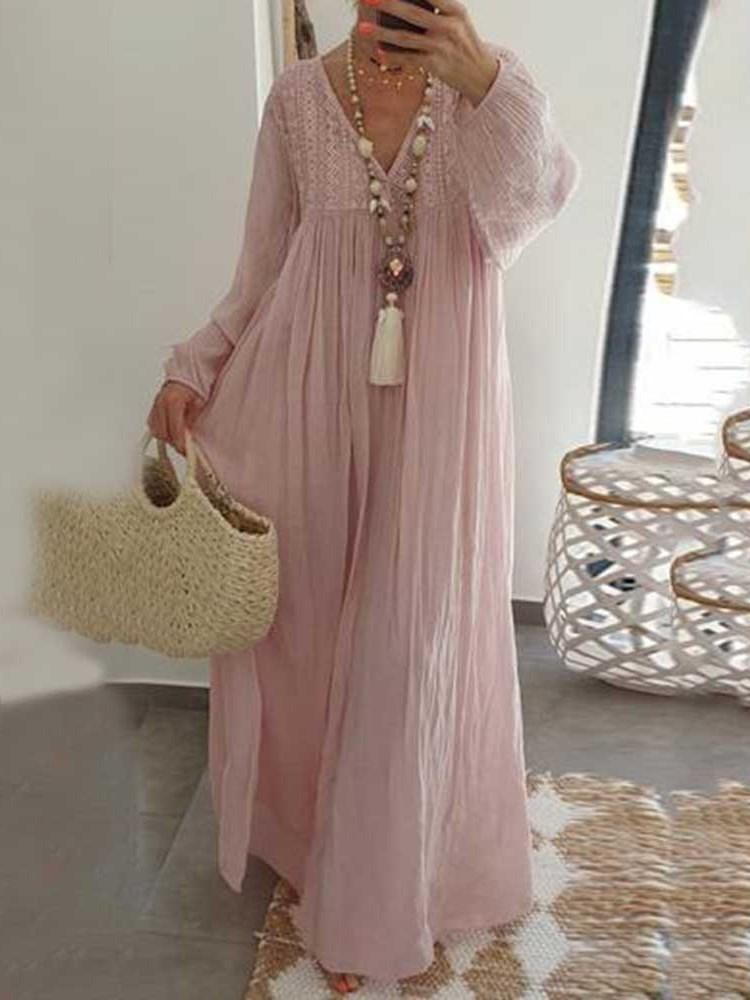 V-Neck Long Sleeve Floor-Length Plain A-Line Dress