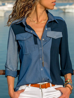 Lapel Color Block Regular Mid-Length Long Sleeve Blouse