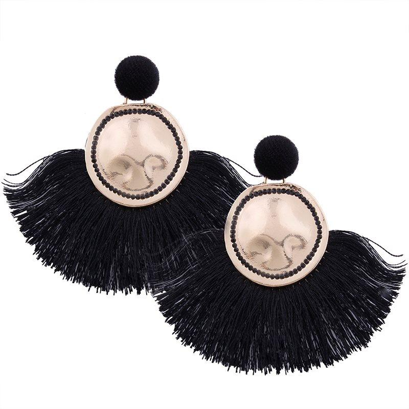 Plain E-Plating Bohemian Tassel Earrings