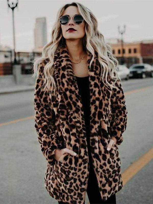 Mid-Length Regular Leopard Wrapped Thick Faux Fur Overcoat