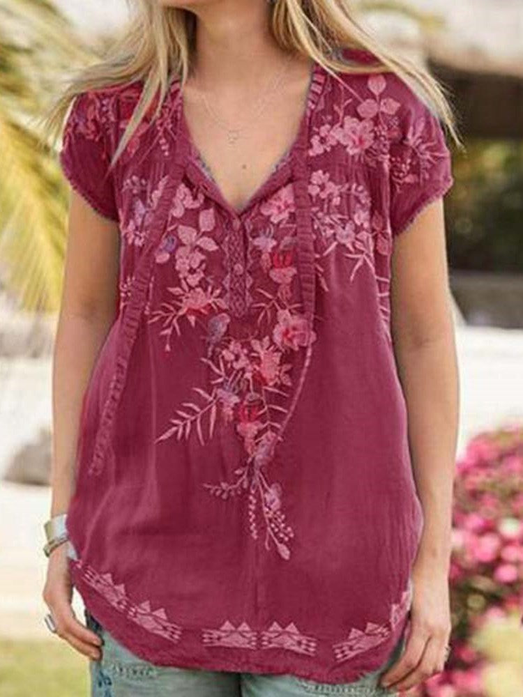 Floral Embroidery Short Sleeve Mid-Length Blouse