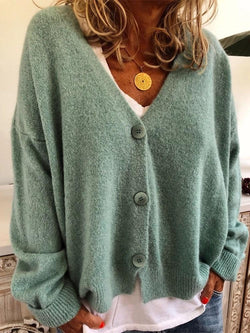 Regular Regular Single-Breasted Long Sleeve V-Neck Sweater
