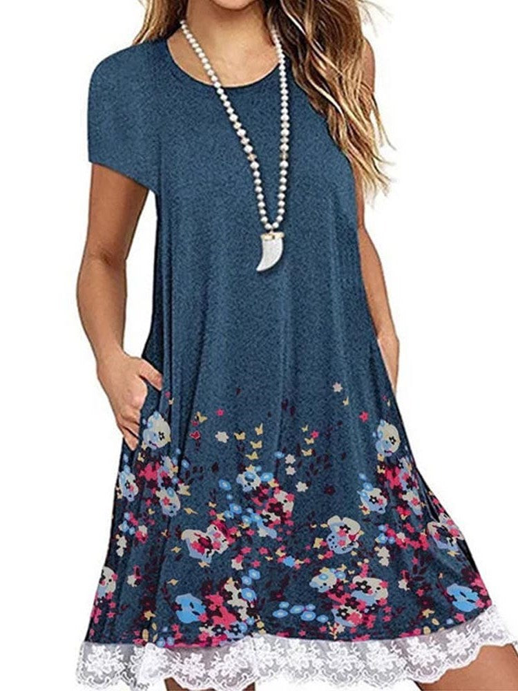 Knee-Length Round Neck Patchwork Summer Pullover Dress