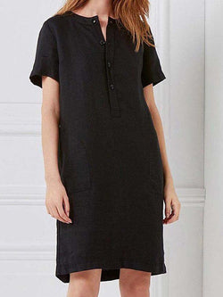 Patchwork Short Sleeve Above Knee A-Line Casual Dress