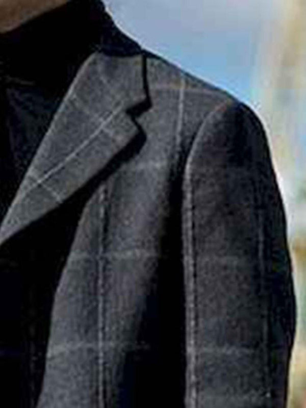Notched Lapel Long Button Fall Straight Coat