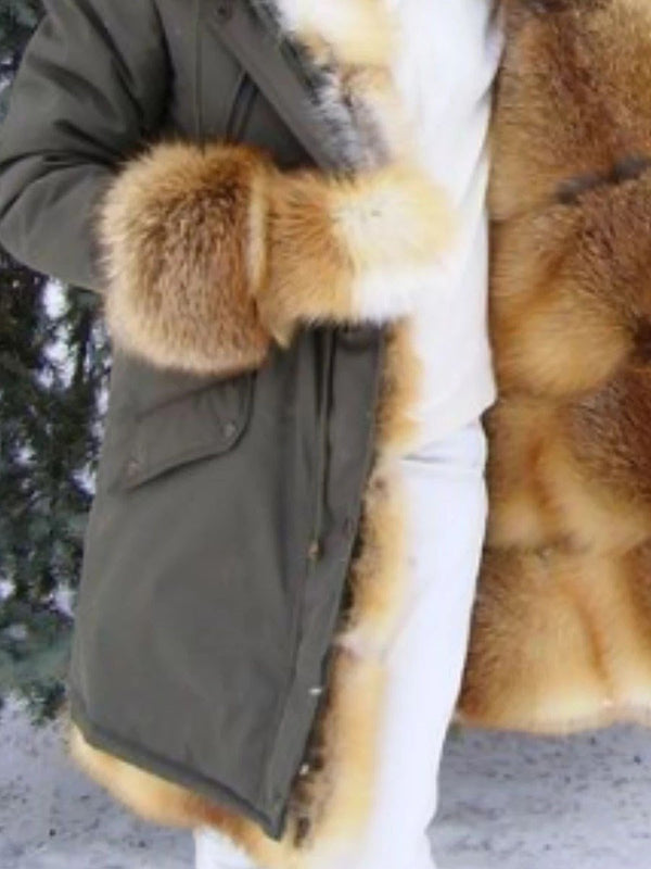 Regular Mid-Length Hooded Thick Wrapped Faux Fur Overcoat