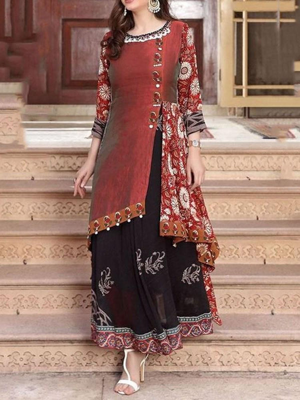 Ethnic Dress Ankle-Length Print Round Neck Western Pullover Dress Diwali