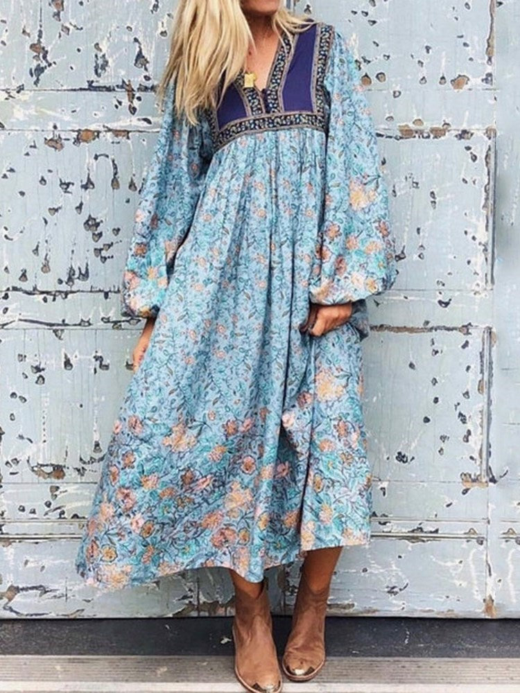 V-Neck Long Sleeve Print Pullover Floral Dress