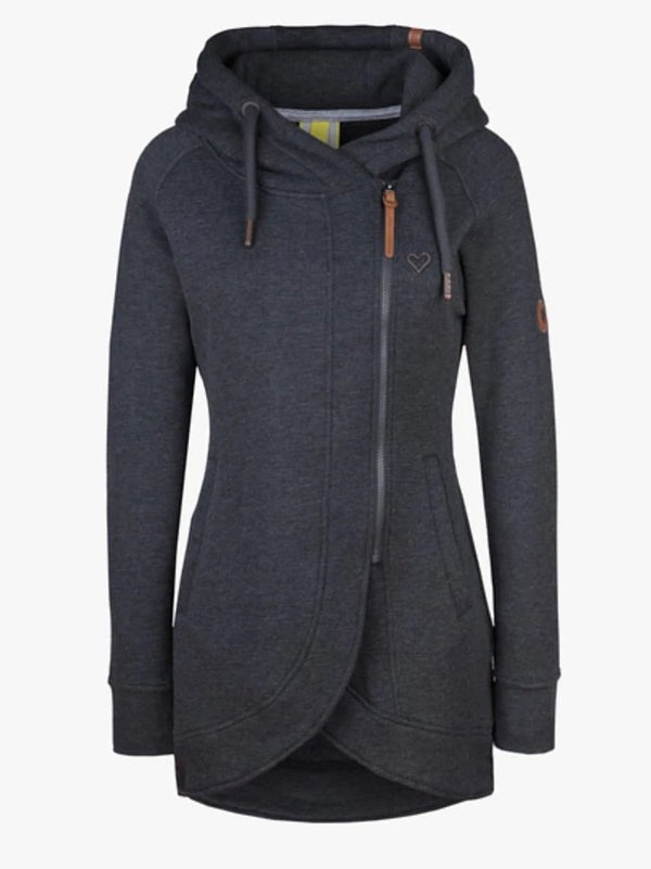 Asymmetric Plain Zipper Hooded Long Sleeve Hoodie