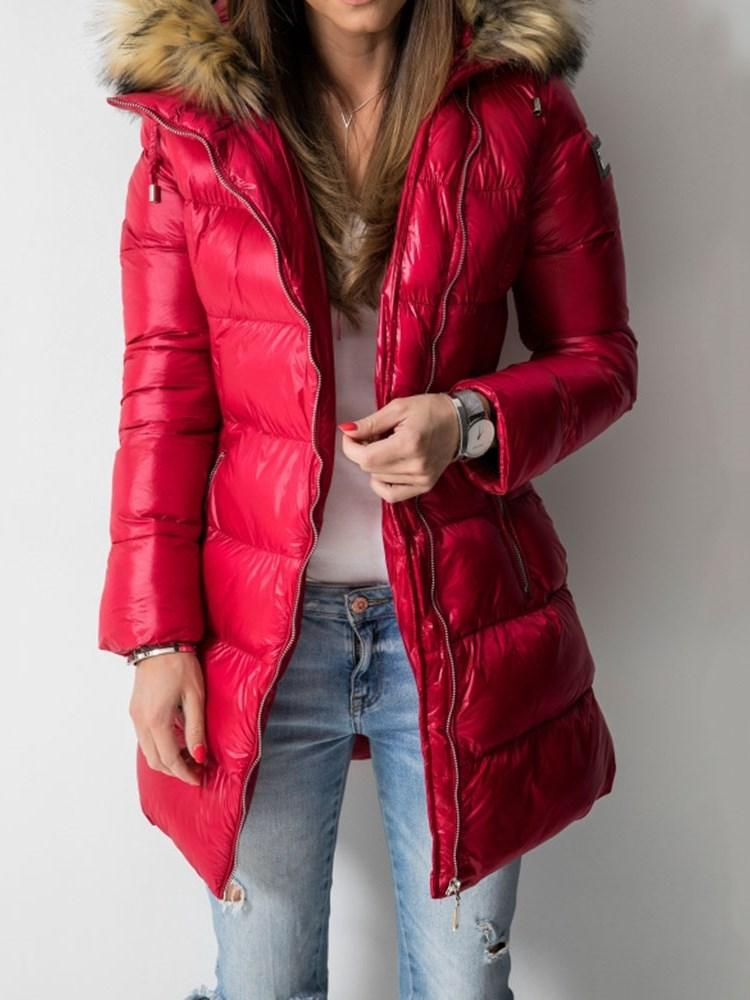 Patchwork Zipper Straight Mid-Length Cotton Padded Jacket