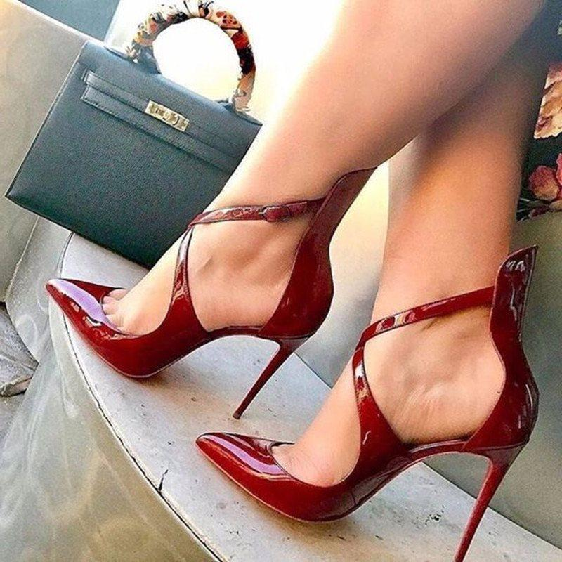 Cross Strap Buckle Pointed Toe Stiletto Heel Professional Plain Thin Shoes