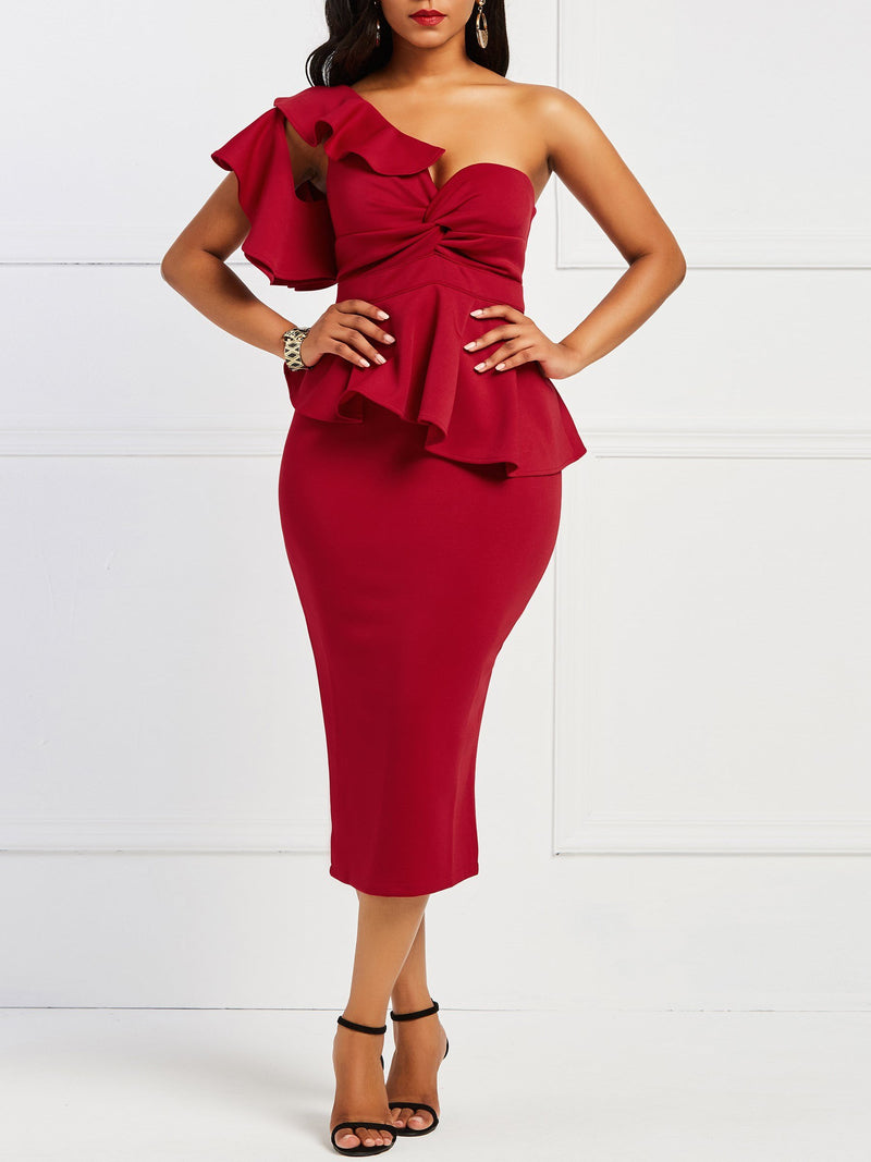 Graceful Pure Color One Shoulder Bodycon Dress
