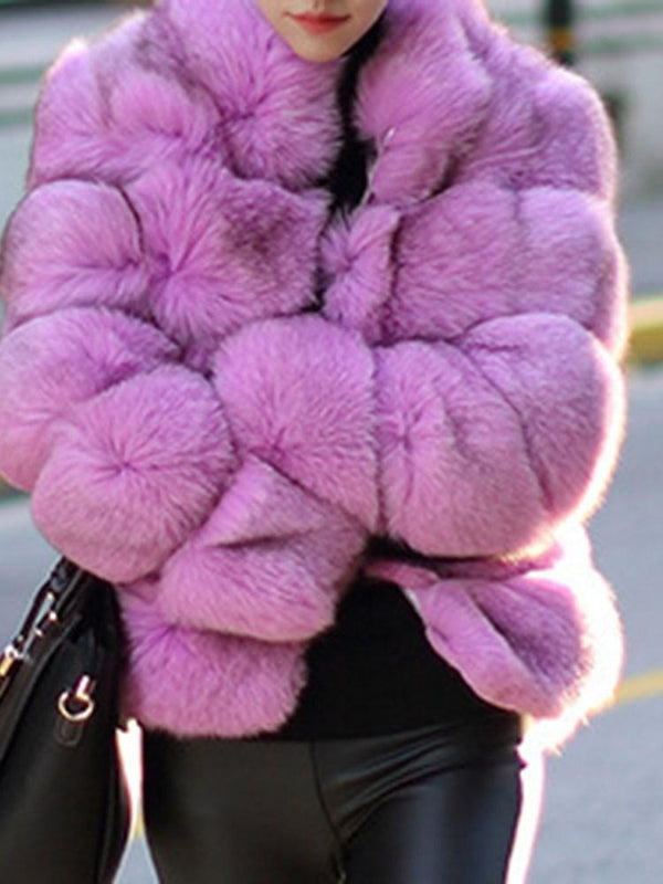 Luxury Pure Color Faux Fur Women's Overcoat