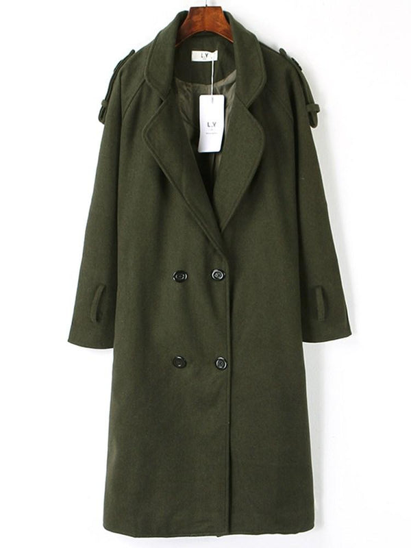 Loose Lapel Double Breasted Overcoat