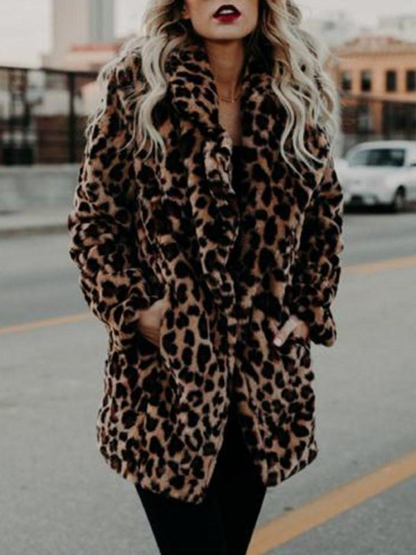 Leopard Faux Fur Women's Overcoat