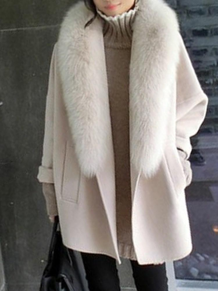 Single-breasted Lapel Collar Loose Overcoat