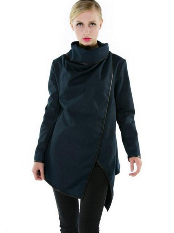 New Turtleneck Asymmetric Overcoat