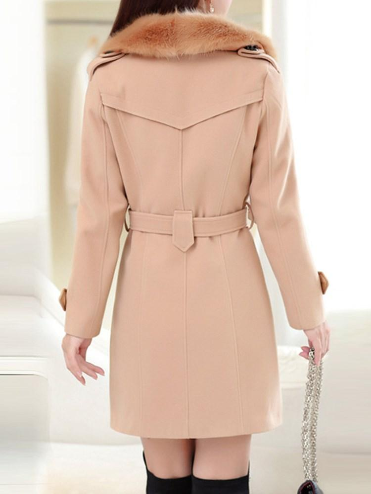 Women's Pure Color Double-Breasted Overcoat