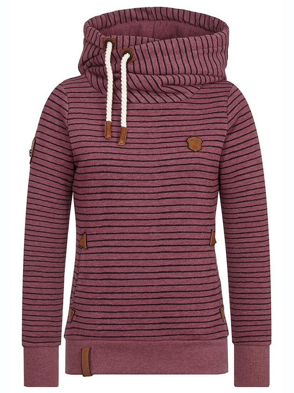 Pullover Stripe Pocket Casual Hoodie