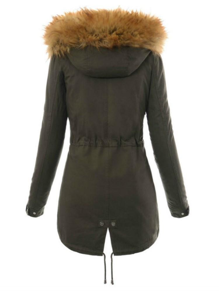 Zipper Thick Faux Fur Toggle Button Women's Cotton Clothes