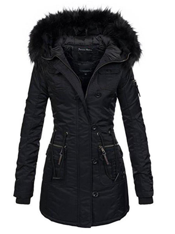 Women's Pure Color Slim Mid-Length Overcoat