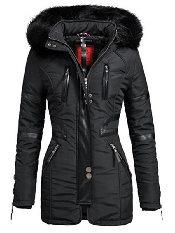 Long Sleeve Hooded Mid-Length Women's Jacket