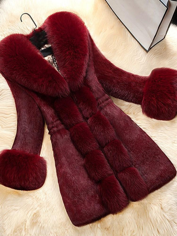 Pure Color Patchwork Long Women's Overcoat