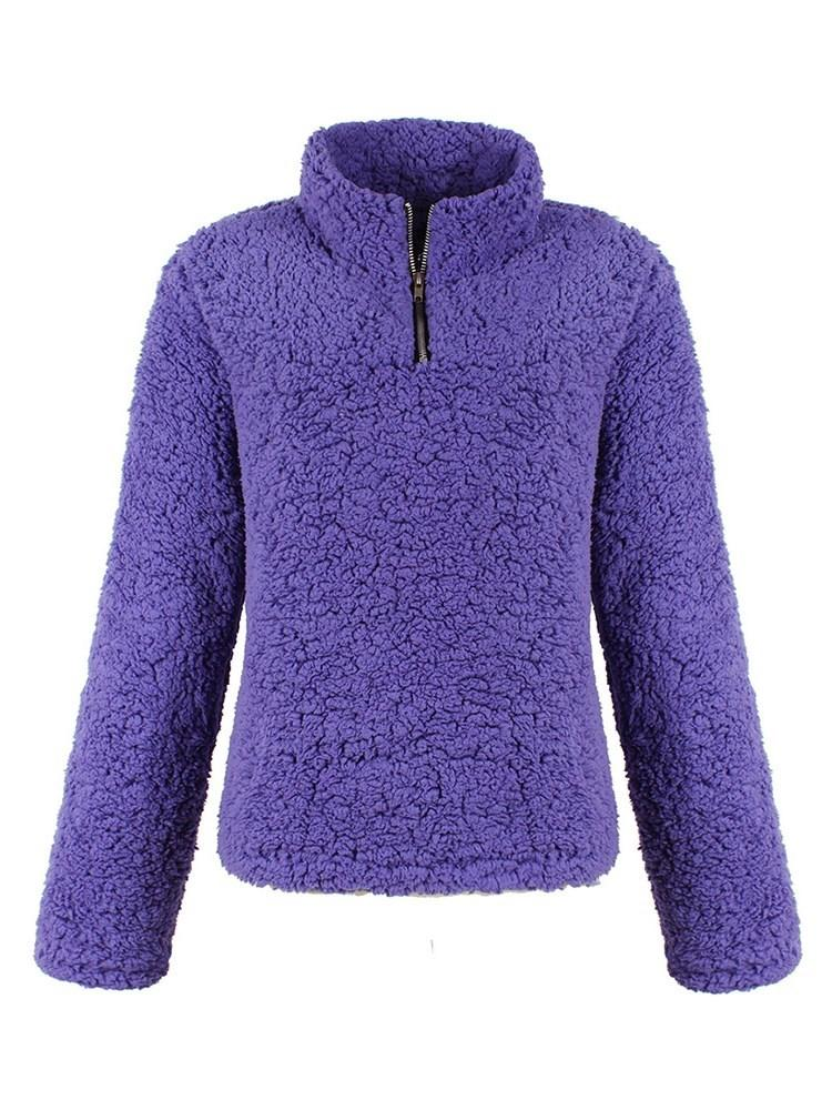 Pure Color Pullover Stand Collar Hoodie