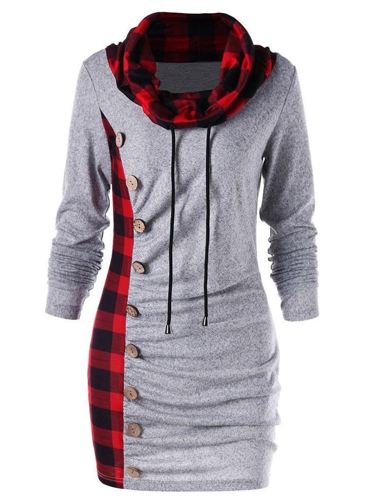 Check Patchwork Lace Up High Collar Hoodie