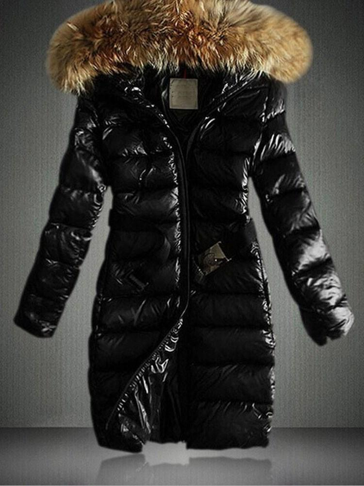 Fur Hoodied Warm Padded Hooded Women's Long Coat