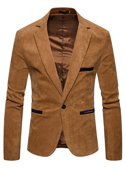 Plain One-Button Slim Fit Casual Jacket Men's Blazer