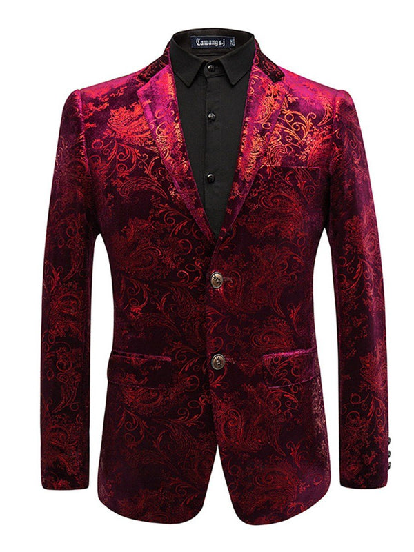 Printed Lapel Fit Slim Print Men's Blazer