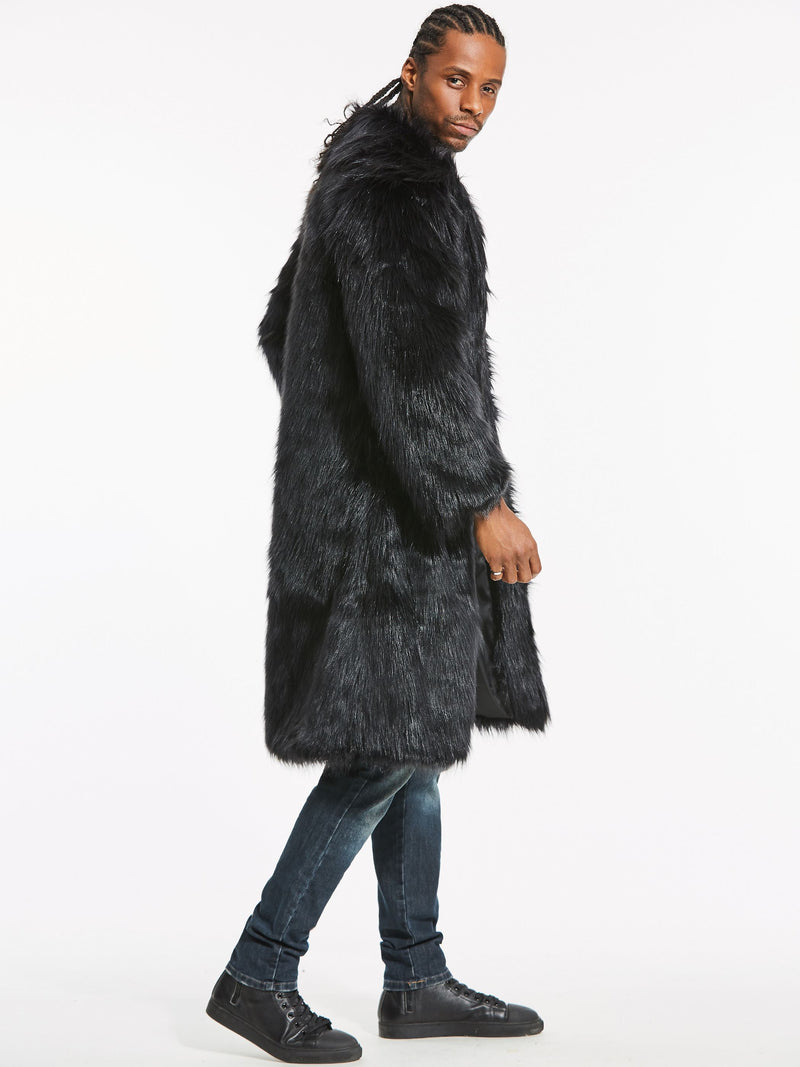 Faux Fur Lapel Long Vogue Men's Winter Coat