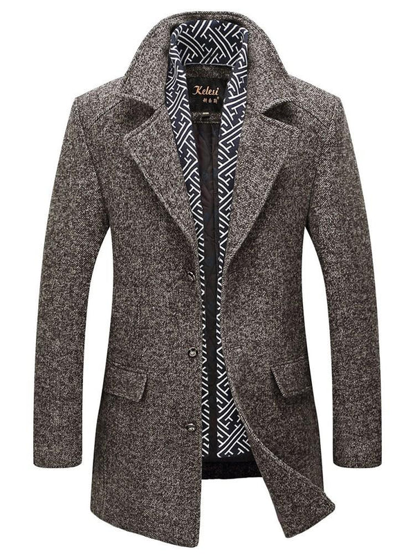 Woollen Warm Long Sleeves Men's Trench Coat