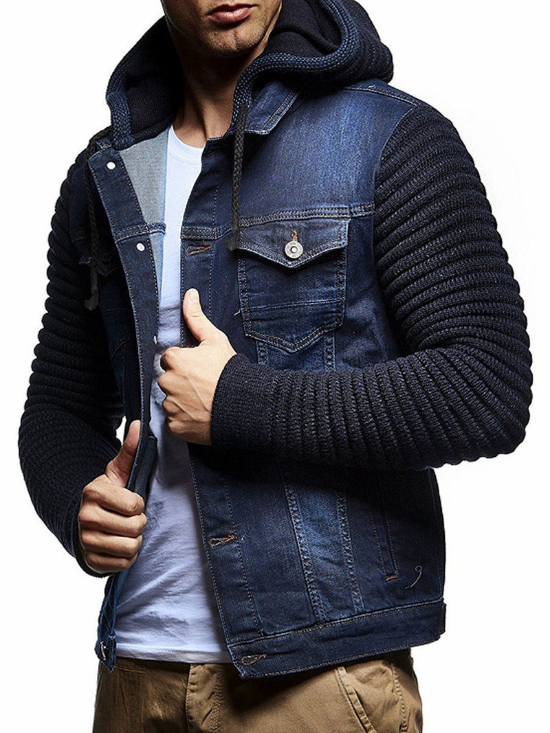 Hooded Patchwork Pockets Men's Jacket