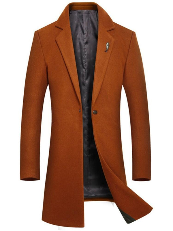 Plain Mid-Length Slim One Button Mens Wool Coats