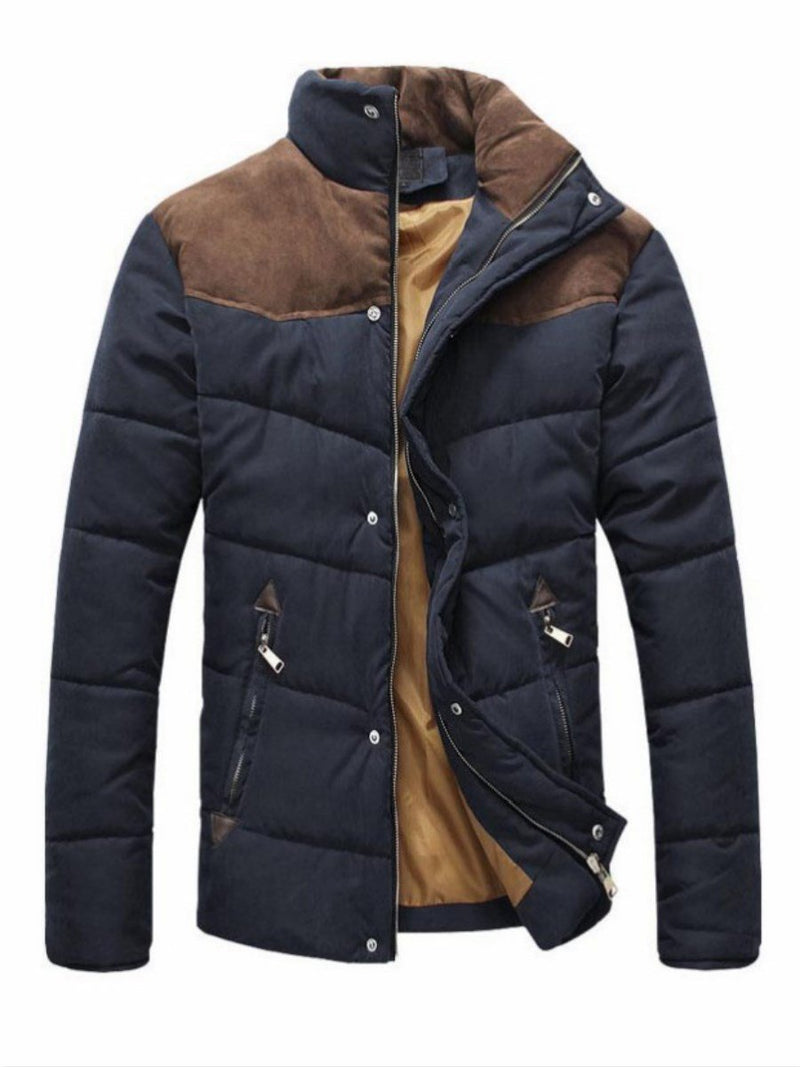 Stand Collar Zip Color Block Men's Winter Coat